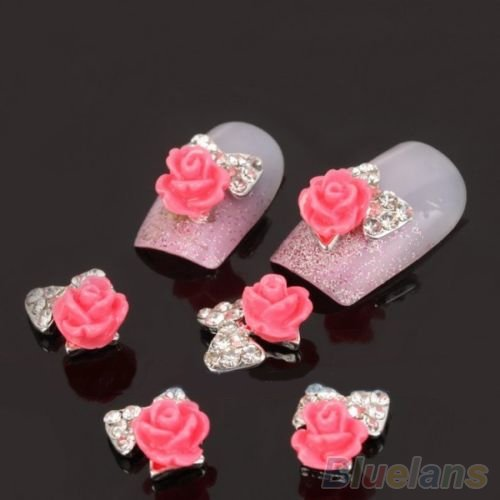10pcs 3D Alloy Flower Rose Bow Tie Rhinestones Nail Art Glitters DIY Decoration