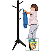 New - 51 Tall Childrens/Juvenile Size Wood Hat Rack in a Black Finish - Includes a FREE box of crayons!