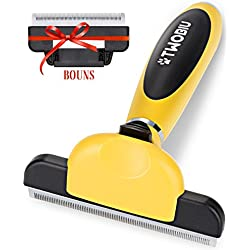 TWOBIU Pet Deshedding Tool for Dogs and Cats, Dog Shedding Brush, Cats Brushes for Shedding, Dog Grooming Tools with Fur Ejector, Short To Medium Hair