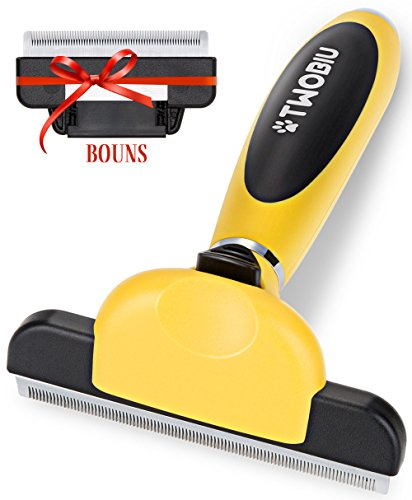 TWOBIU Pet DeShedding Tool, Dog Brush / Cat Brush for Long Hair / Short Hair, Dog Brushes for Shedding, Cat / Dog Grooming Kit with Fur Ejector
