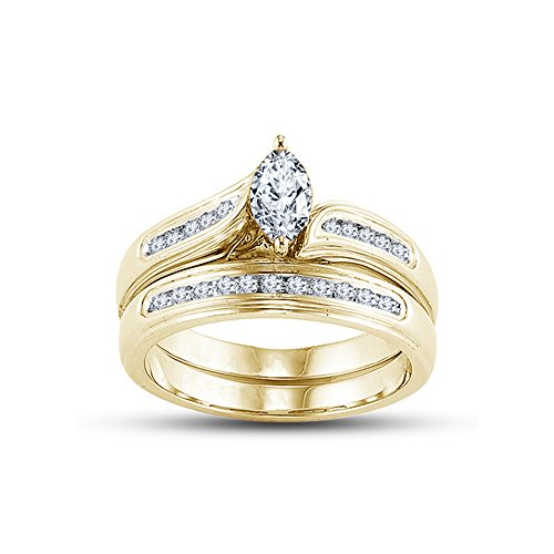 One Marquise Ring Love (TVS-JEWELS Engagement Bridal Ring Set In Marquise Shape & Round Cut White CZ 14k Gold Plated 925 Silver (7.5))