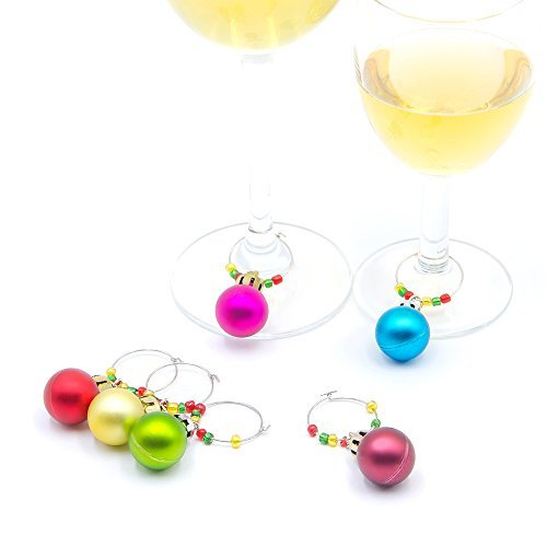 Wine Glass Charms,6 Color Assorted Ball Ornaments to Identify Your Drinks and bring Cheers to Holiday Party! (round ()