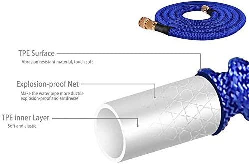 QHWJ Garden Expandable Hose with High Pressure Water Gun,Leakproof Durable Flexible Garden Water Hose for Watering, Car Washing, Cleaning,15m