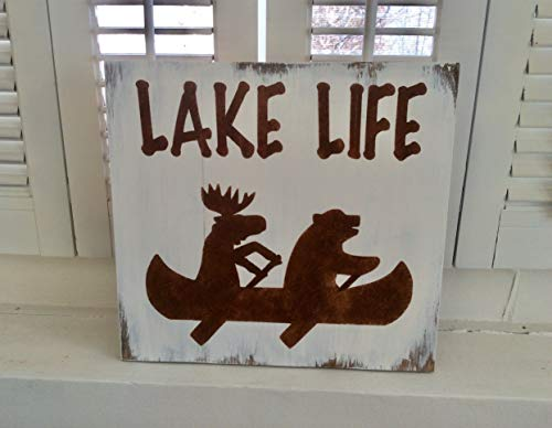 Funny Wood Sign Lake Life Lake Decor Cottage Decor Canoe Sign Moose Sign Bear Sign for Wall Room Door Sayings Decor