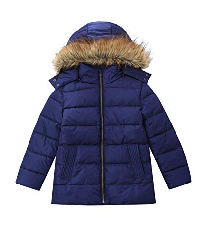 M2C Girls Winter Faux Fur Hooded Warm Insulated Padded Jackets Navy 7/8