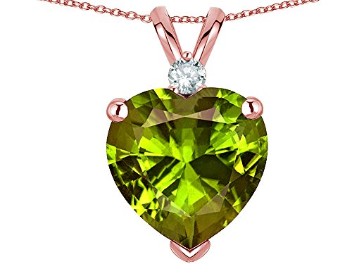 Star K 8mm Genuine Peridot Heart Pendant Necklace 10k Rose Gold ()