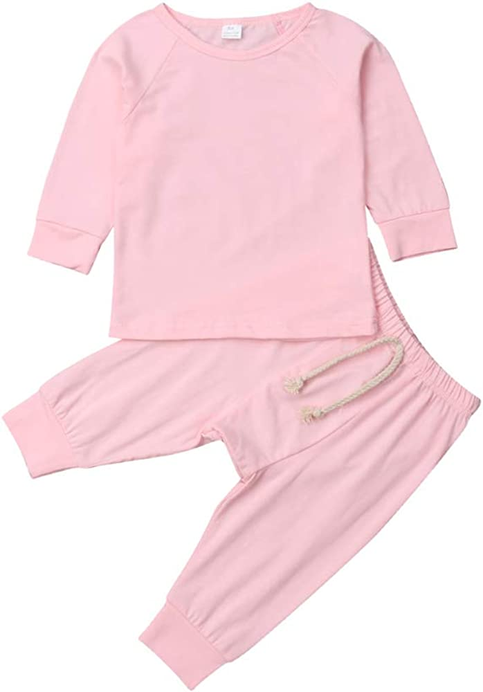 Top with Pants Set 2 Piece Outfit Baby Unisex Pajamas Organic Cotton Clothing Set for Infant Baby Boys Girls