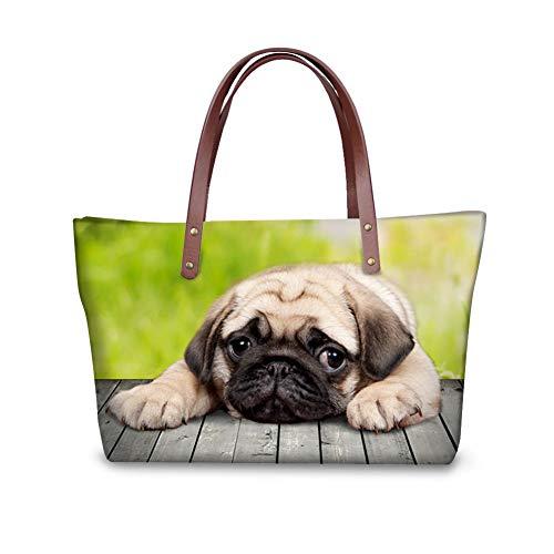 Showudesigns Husky Classic Shopping Tote Bag Women Handbag Shoulder Messenger Bag Pug Dog
