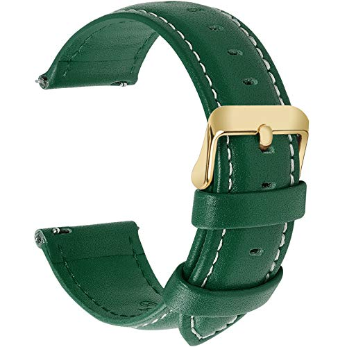Green Leather Strap Watch - 12 Colors for Quick Release Leather Watch Band, Fullmosa Axus Genuine Leather Watch Strap 20mm Dark Green-GD