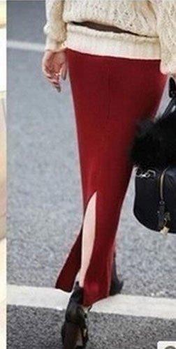 ANDI ROSE Women Slim Knit Split Stretch Long Maxi Pencil Skirt Dress (Burgundy)