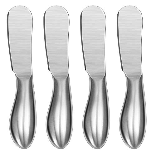 Spreader Knife Set, WoneNice 4-Piece Cheese and Butter Spreader Knives, One-piece Stainless Steel, Gifts for Christmas, Birthday/Parties, Wedding/Anniversary