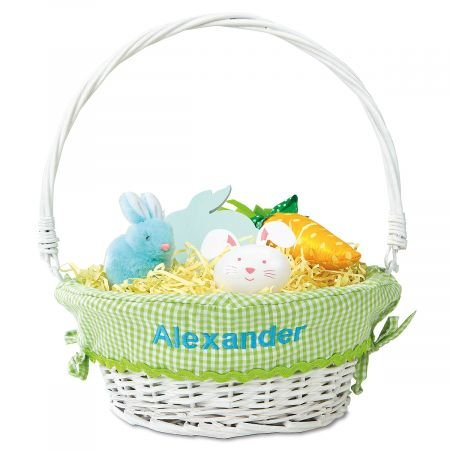 Lillian Vernon Personalized Wicker Easter Basket with Green Liner – Name Embroidered, 11 x 14 , Removable Liner is 65 polyester 35 Cotton