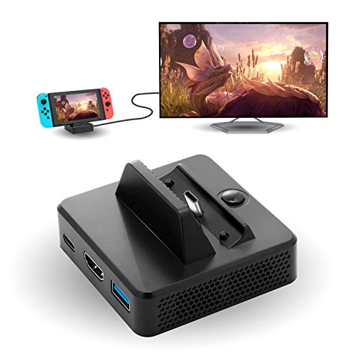 (HDMI Dock for Nintendo Switch, TV Dock for Nintendo Switch, Portable Replacement Mini Dock for Nintendo Switch with USB 3.0 Port and HDMI Port - Black)