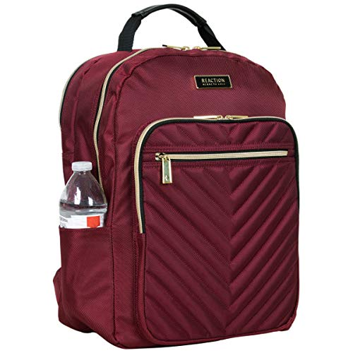 Kenneth Cole Reaction Women's Chelsea Backpack Chevron Quilted 15-Inch Laptop & Tablet Fashion Bookbag Daypack, Burgundy…