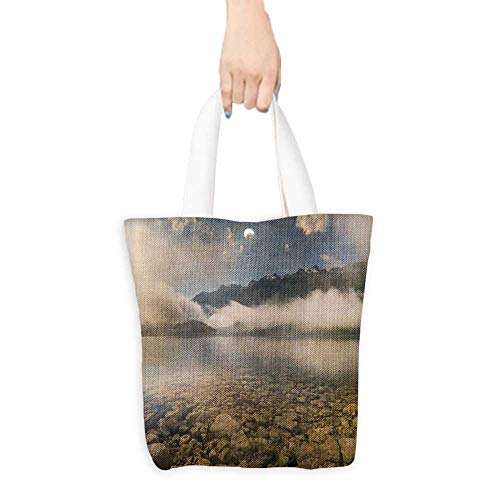 Grocery Shopping Bags with Handles Alp e Lake S nes Rocks Crystal er Misty Fogy Also a Gift for Mom W11 x H11 x D3 INCH - Er Nurses Rock