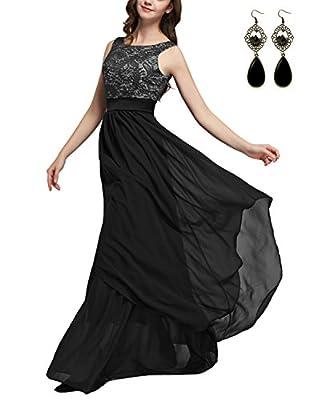Sitengle Elegant Women Sleeveless V-back Lace Patchwork Chiffon Long Dress Formal Banquet Evening Wedding Party Prom Dresses