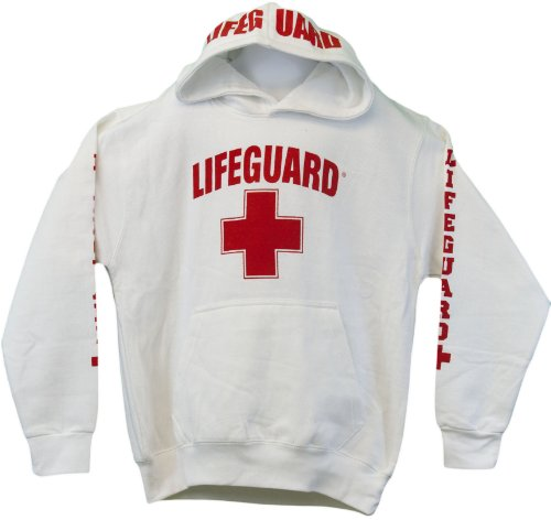 Lifeguard Hoodie Kids Life Guard Sweatshirt White Small (6-8)