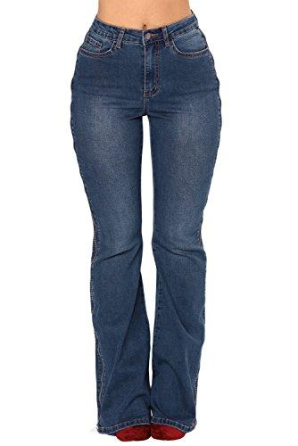 Pantaloni Lunga A Blu Bassa Eleganti Jeans E Gamba Zip Vita Con F17xFzwr