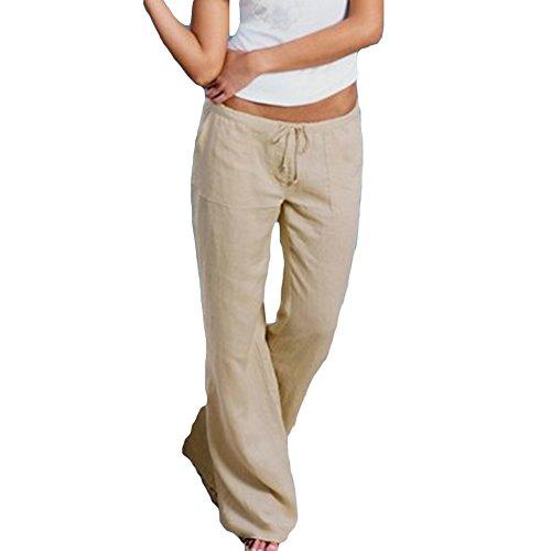 Donne Yoga,Danza,Sport & Tempo Libero Larghi Pantaloni Comodi Larghi Del Piedino Corno Di Moda Pantaloni Eleganti Palazzo Pantaloni Per Donna Beige