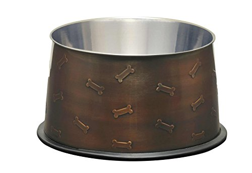 Loving Pets Artistic Antique No-Tip Dog Bowl, 48-Ounce, Copper (Mirror Tip Dish)