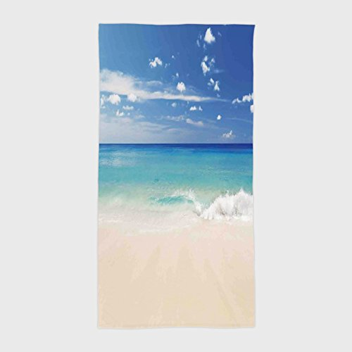 - iPrint Cotton Microfiber Hotel SPA Beach Pool Bath Hand Towel,Ocean,Tropical Haven Style Sandy Shore and Sea with Waves Escape to Paradise Theme,Cream Turquoise White,for Kids, Teens, and Adults