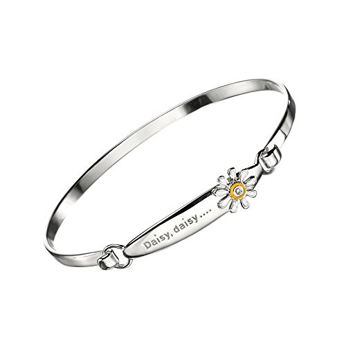 Young Girls Jewelry - Sterling Silver Diamond Daisy Flower Bangle