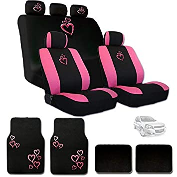 Yupbizauto New Large Pink Heart Car Seat Covers with Embroidery Logo Headrest Covers and Floor Mats Gift Set