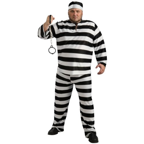 Convict Man Plus Size Adult Costume - Plus (Couple Haloween Costume)