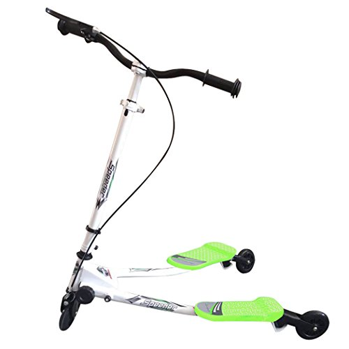 Ancheer Kids Speeder Tri Slider Wiggle Push Scooter 2 Footed 3 Wheels Foldable Kick Swing Trike Striker Drifter Y Flicker Scooter for Tots Age 5+ (Green)