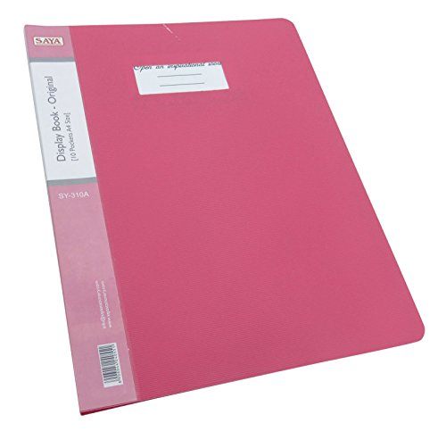 10 Pockets Display Book Presentation File Folder A4 Size Paper Clear Sheet Protector Document File, Pink Folder - Pack of 1