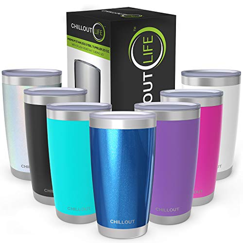 CHILLOUT LIFE 20 oz Stainless Steel Tumbler with Lid & Gift Box | Double Wall Vacuum Insulated Large Travel Coffee Mug with Splash Proof Lid for Hot & Cold Drinks - Blue Sparkle
