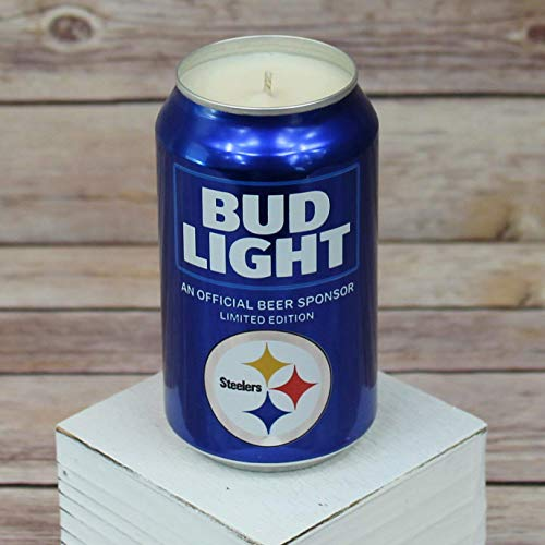Candle Steelers Pittsburgh Nfl (2018 Bud Light NFL Pittsburgh Steelers Team Football Beer Can Soy Candle with Custom Scent)