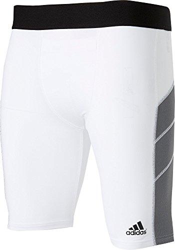 adidas Mens Triple Stripe Foam Sliding Shorts, (White, L)