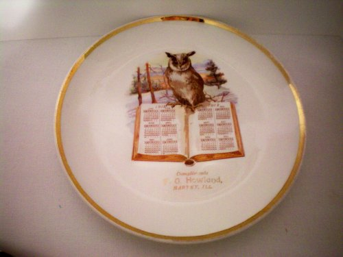 """Advertising Collectible -- 1912 Calendar Plate 8.5"""" -- Compliments of F. G. Howland, Harvey, Illinois -- Gold Trim"""