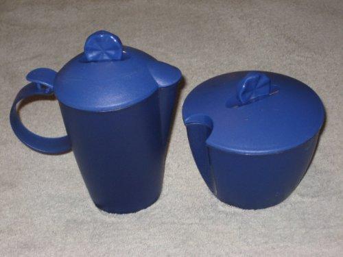 (Vintage Tupperware Plastic Blue 3 Inch Sugar Bowl & 5 Inch Creamer w/ Flip Lid Set)