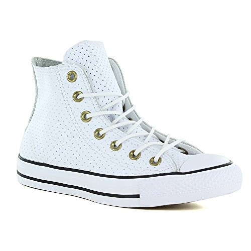 Chuck Taylor Leather High Tops - Converse Men's Chuck Taylor All Star High Top Perf Leather Sneake White/Biscuit/Black 3 M