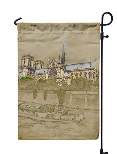 GROOTEY Welcome Outdoor Garden Flag Home Yard Decorative 12X18 Inches Travel Background in Format Modern Stylish Painting Watercolor Pencil Church Tourist Boat Double Sided Seasonal Garden Flags -