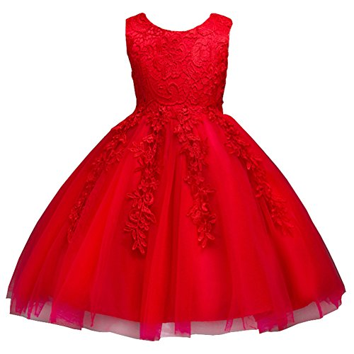 Lisianthus Girls' Tulle Flower Party Dress Knee Length Red 5T (Red Dresses For Little Girls)