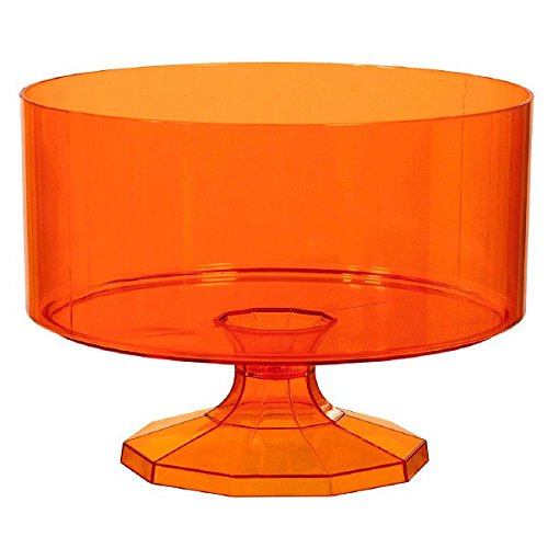 Amscan Medium Plastic Trifle Container Party Tableware, 80 oz, Orange