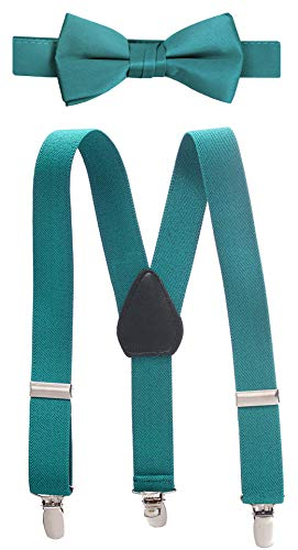 (Hold'Em Suspender and Bow Tie Set for Kids, Boys, and Baby -Teal)