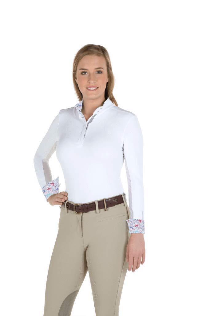 ノーブルOutfitters Victoria長袖Pull On Showシャツ – ホワイト/ Coral Geo Print B07BFHB5Y3  Hawaiian Blue Horse Medium