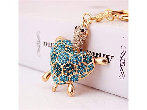 Car Keychain, Cute Diamond Love Back Shell Turtle Keychain Animal Key Trinket Car Bag Key Holder Decorations(Blue) for Gift by Huasen