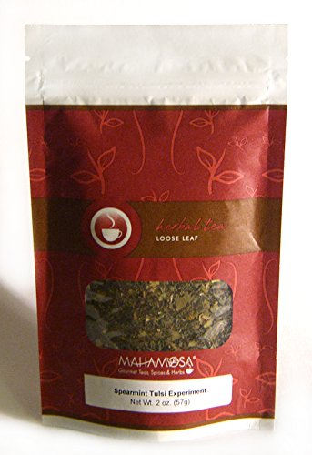 Linden Lemon Tea (Mahamosa Spearmint Tulsi Experiment Tea 2 oz, Herbal Herb Tea Blend Loose Leaf (Looseleaf) (with tulsi (holy basil) spearmint, rose hips, lemon myrtle, linden blossoms, berry flavor, tea))