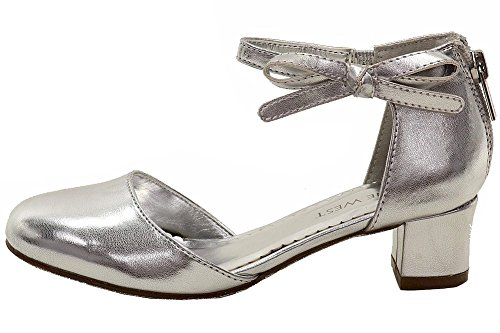Nine West Girls' Pamela Pump, Silver, 3 M US Little Kid