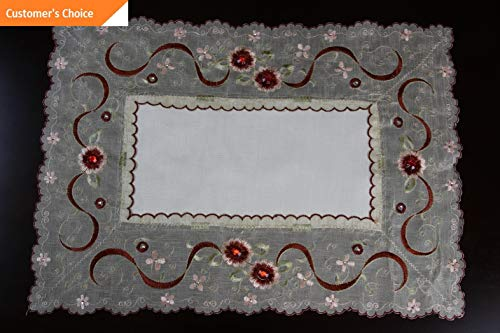 Kaputar Embroidery Embroidered Red Jeweled Rhinestone Ribbon Placemat Runner | Model TBLCLTH - 1234 | 16x72034