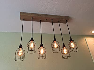 "Rustic Chandelier - 6 Industrial Cage Pendants - Ceiling Fixture with 35"" Wood Mount - Cage Light Chandelier"