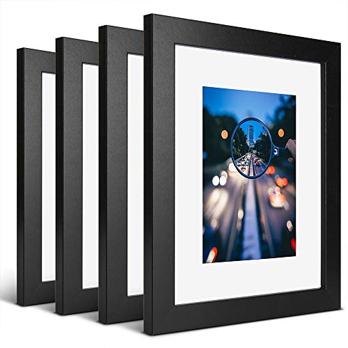 iDecorlife Premium 8x10 Black Picture Frames 4PCs - 5x7 Picture Frame with Mat or 8x10 Picture Frame Without Mat - Real Wood Photo Frame for Table Top Display wtih Wall Mounting Ready