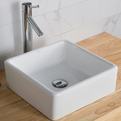 Kraus KCV-120 White Square Ceramic Bathroom Sink by Kraus