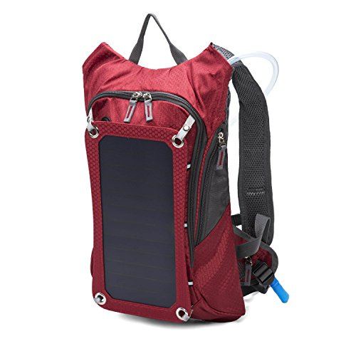 18L Solar Charger Backpack with 10,000 mAh Power Bank and 2L Hydration Pack and Ergonomic Carrying System