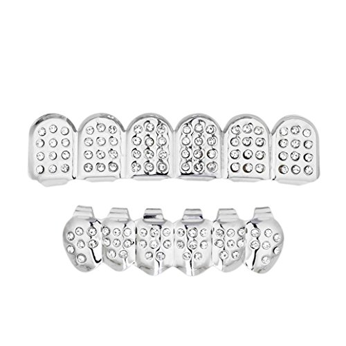 Iusun 1 Set Gold Plated Hip Hop Teeth Grillz Top & Bottom Grill Teeth Grills Props (Silver (Silver Teeth Grills)